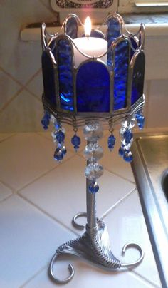 Cobalt Blue, Stained Glass, Candle Holder, by VisionsofCrystal