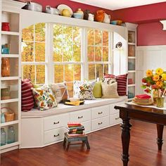 Bright white built-ins accent the window and provide an extra-wide seat to hang out on. | Photo: Nathan Kirkman | thisoldhouse.com