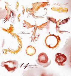 Watercolor Phoenix Clipart Set by ArtCreationsDesign on Watercolor Phoenix Tattoo, Phoenix Painting, Phoenix Drawing, Phoenix Art, Watercolor Illustration, Graphic Illustration, Watercolor Paintings, Foto Fantasy, Horoscope Tattoos