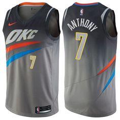 Nike Thunder  7 Carmelo Anthony Gray NBA Swingman City Edition Jersey 2d7ec948c