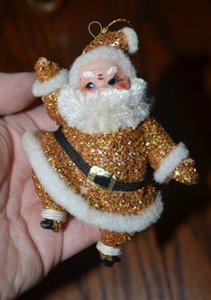 Vintage Gold Glittered Santa Christmas Ornament by YouandIvintage, $4.00