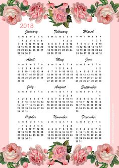 Free printable 2018 rose calendar – year at a glance | MeinLilaPark
