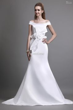 Wholesale 2013 Latest Off-shoulder Floral Bow Sash Chapel Train White Satin Mermaid Wedding Dresses Gown WD280, Free shipping, $156.82/Piece | DHgate
