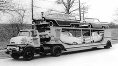 56 COE car transporter with 57 Fords