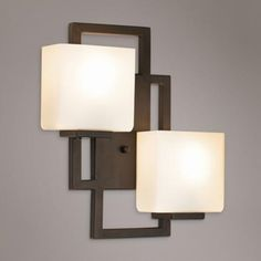 Lighting on the Square Bronze 15 High Wall Sconce Takes two 60 watt bulbs (not included). Extends from the wall. Glass is high, wide, and extends 6 from mounting point to top. Indoor Wall Sconces, Modern Wall Sconces, Black Outdoor Wall Lights, Outdoor Wall Lighting, Hall Lighting, Wall Sconce Lighting, Bronze Wall Sconce, Art Deco Lamps, High Walls