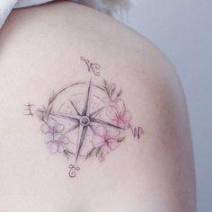 142 inspirational ideas and pictures about Compass Tattoo! Alaska Tattoo, Lila Tattoo, Tattoo Motive, Pastell Tattoo, Girl Tattoos, Tatoos, Compass Art, Piercings, Pink And Purple Flowers