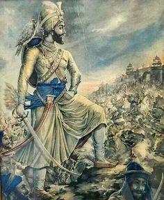 Guru Gobind Singh Maharaj on the battlefield Guru Tegh Bahadur, Guru Nanak Wallpaper, Indian Freedom Fighters, Guru Pics, Guru Granth Sahib Quotes, Nanak Dev Ji, Guru Gobind Singh, Exotic Art, History Of India