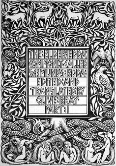 The Tree of Yggdrasil - The title page of Olive Bray's 1908 translation of the Poetic Edda by W. G. Collingwood