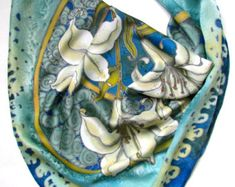 Silk scarf handpainted. Hand painted Silk by OlgaGorbunovaArt
