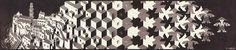 M.C. Escher. Metamorphosis I 1937 Woodcut printed on 2 sheets. 908mm x 195mm.
