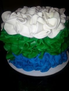 White, green and blue fondant ruffles