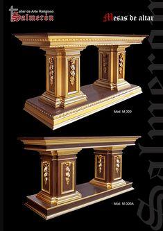 Mesas de altar Funny Furniture, Woodworking Furniture, Dining Furniture, Wood Floor Design, Wood Table Design, Altar Design, Church Design, Interior Columns, Church Interior