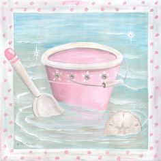 On Sale Pink Splash Pail And Shovel Canvas Reproduction, Canvas Reproductions,Personalized Art, Art for Girls