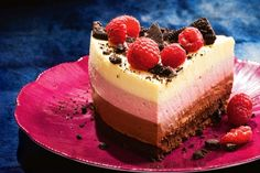 Up the ante in the dessert stakes with this triple chocolate Neapolitan Mousse Cake in the March issue of taste mag). Top it off with fresh raspberries and crushed Oreos (yum!) and you're ready to go Desserts To Make, Homemade Desserts, No Bake Desserts, Dessert Recipes, Baking Desserts, Cake Baking, Dessert Ideas, Cake Recipes At Home, Delicious Cake Recipes
