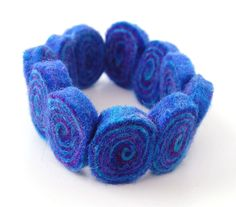Blue Violet Swirly Whirly  A bright and colourful felted bracelet by therainbowroom on Etsy, $10.75