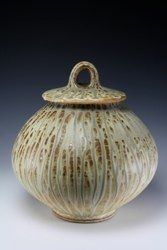 Covered jar with runny ash glaze by Doug Blechner, Los Angeles