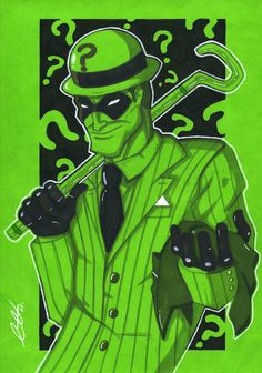 The Riddler: Holding the Cowl Drawn with pencils, Letraset Markers and a White gel pen The Riddler Gotham Villains, Best Villains, Batman Universe, Dc Universe, Joker And Harley, Harley Quinn, Desenho Tattoo, Riddler, Dc Heroes