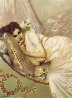 H.Guérault. -Reclining lady with a cat