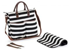 Classic Striped Black and White Cotton Nappy Bag including Changing Pad by Wasserstein