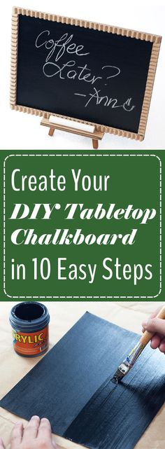 Jotting down a note on your phone or in a journal might work for certain tasks, but sometimes you need a bold and vibrant reminder. Maybe it's a note to grab milk at the store or a reminder to keep a positive outlook - whatever the case, you can make yourself a cute DIY Tabletop Chalkboard in only 10 steps! Bring all the charm of a chalkboard and the affordability of doing it yourself together to make this awesome project.