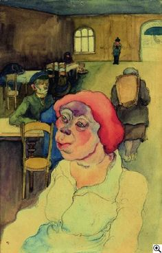 Woman with red cap in the waiting room, 1930 by Elfreide Lohse-Wächtler (German 1899-1940)