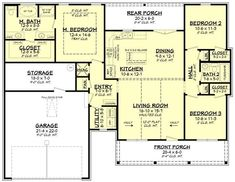 The house covers a total heated and cooled floor area of 1459 square feet of comfort and convenience. #houseplan #traditionalhouseplan Plumbing Drawing, Alternate Exterior, Clapboard Siding, Porch Plans, Farmhouse Front Porches, Floor Plan Drawing, Roof Detail, Modern Farmhouse Plans, Roof Plan