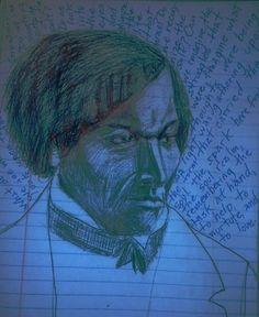 journal ballpoint sketch Frederick Douglass