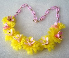 Vintage celluloid soft early plastic yellow flowers necklace  #Retro