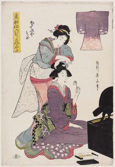 \Dyed Fabric from the Hoteiya Store (Hoteiya-zome), from the series Purple-dyed Patterns of Edo Products (Tôto shiire murasaki moyô)  「東都仕入むらさきもやふ ほていやそめ」 Japanese Edo period about 1809–13 (Bunka 6–10) Artist Kikukawa Eizan (Japanese, 1787–1867)
