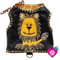 New!! Couture Micro Suede Studded Lion  Dog Harness