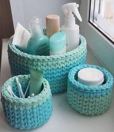 The most beautiful Crochet basket and straw models Crochet Storage, Crochet Diy, Crochet Home, Crochet Basket Pattern, Knit Basket, Crochet Patterns, Crochet Baskets, Tshirt Garn, Crochet Projects