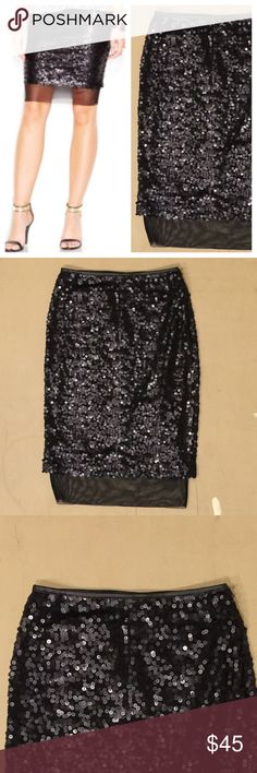 Bar III Black Matte-sequin Pencil Skirt 💕 NWOT - Bar III Black Matte-sequin Pencil Skirt with sheer bottom layer and pleather trimming at the waist. Great for Birthday, Anniversary, Gift, Present, Vacation, Cruise, Wedding, Cover Up, Date, Night, Spring, Fall, Winter, Summer, Sexy, Work, Casual, lounging, Daytime, Party. Bar III Skirts