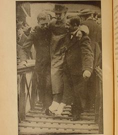 Harold Bride, A Titanic wireless operator being carried ashore from Carpathia.  He jumped into the sea and was rescued. but his feet were badly frozen $102.50 http://www.ebay.ca/itm/1912-Book-SS-TITANIC-Maritime-1ST-EDITION-Antique-RMS-WHITE-STAR-LINE-Carpathia-/360444765826?pt=Antiquarian_Collectible=item53ec2ea682#ht_55760wt_1366