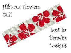 Peyote Bracelet Pattern  Hibiscus Peyote Pattern by LostInParadise, $6.50