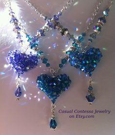 Puffy hearts ~ Swarovski crystal bicone beads ~ Sparkle galore!!!