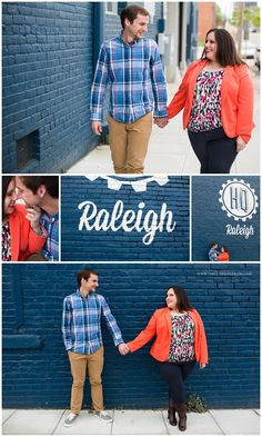 Downtown Raleigh, NC Engagement Session. Raleigh Headquarters. Warehouse district. Orange & blue engagement shoot. Curvy posing. Couples posing. Poses.  Ashley Nicole Photography | North Carolina & Destination Wedding Photographer | www.ashleynicoleblog.com | #ashleynicoleweddings