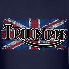 Triumph emblem and distressed Union Jack. I love England and proud of my British ancestry. Triumph Logo, Triumph Motorcycles, Triumph Street Twin, Triumph Daytona 675, Motorcycle Posters, Triumph Bonneville, Leather Projects, Union Jack, Tshirts Online