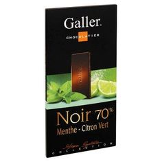 Galler tablette de Chocolat Noir 70% Menthe-Citron-Vert-80grwww.chockies.net