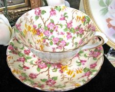 Tuscan Chintz Blossoms Teacup Hand Painted Tea Cup And Saucer photo