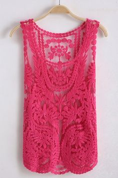 Oasap Sleeveless Round Neck Crocheted Lace Vest