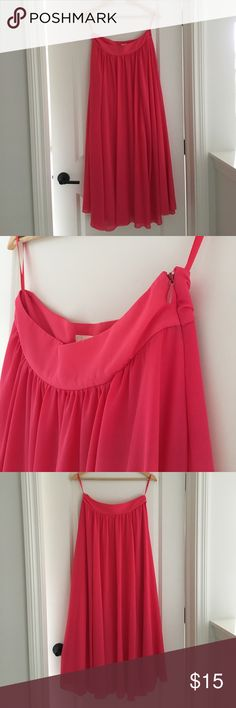 """Anthropologie Edme & Esyllte Pink Maxi Skirt Beautiful, bright, flowy skirt! 100% polyester. Approx. 38"""" long and waist is 15"""" across. Skirt is fully lined. Anthropologie Skirts Maxi"""