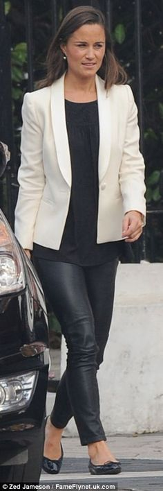 ♛ ATB  Fashion Tip ♛ ........... Wear heeled black booties/pumps to lengthen legs. Wear short blouse under longer jacket (or tuck it in slightly just in the front) or wear shorter jacket/blazer to lengthen legs (especially if you are long-waisted like Pippa).