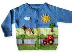 Knit baby jacket / raglan / country motif Now knit a wonderful jacket with a country / farm motif for your baby / toddler with raglan. Baby Knitting Patterns, Knitting Baby Girl, Knitting For Kids, Crochet For Kids, Knitting Designs, Crochet Baby, Pull Bebe, Knitted Hats Kids, Knit Cardigan Pattern