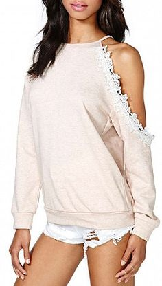 Pink Off-the-shoulder Knit Sweatshirt