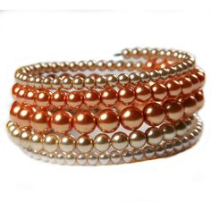 Orange and Gold Beaded Wrap Bracelet; Orange and Gold Memory Wire... ($18) ❤ liked on Polyvore featuring jewelry, bracelets, wire bangles, beaded jewelry, gold jewellery, beaded bangles and pearl wrap bracelet