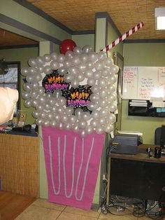 "bubbly shake with an adorable straw...cool 50s party theme instead of ""happy birthday"" signs do cut outs where kids can stick their heads in and parents can take pictures"