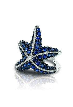 Water Colors Blue Sapphire and Diamond Starfish Ring by effy