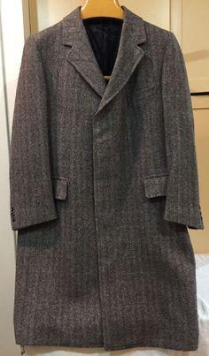 Mens Pendleton Gray blue black Herringbone Tweed Wool Car Over Coat size L/XL    eBay