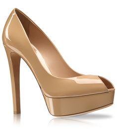 Escarpín abierto con plataforma de piel glacé beige, 13 cm - Dior.com