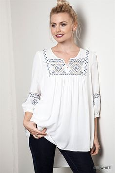 Umgee Off White Embroidery Peasant Boho Chic Gypsy Hippie Blouse Tunic Top. Just Sold! Only 1 Medium left! Long Blouse, Tunic Blouse, Tunic Tops, Boho Fashion, Fashion Outfits, Estilo Hippie, Embroidered Tunic, White Embroidery, Boho Tops